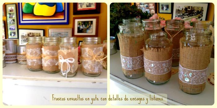 frascos con yute