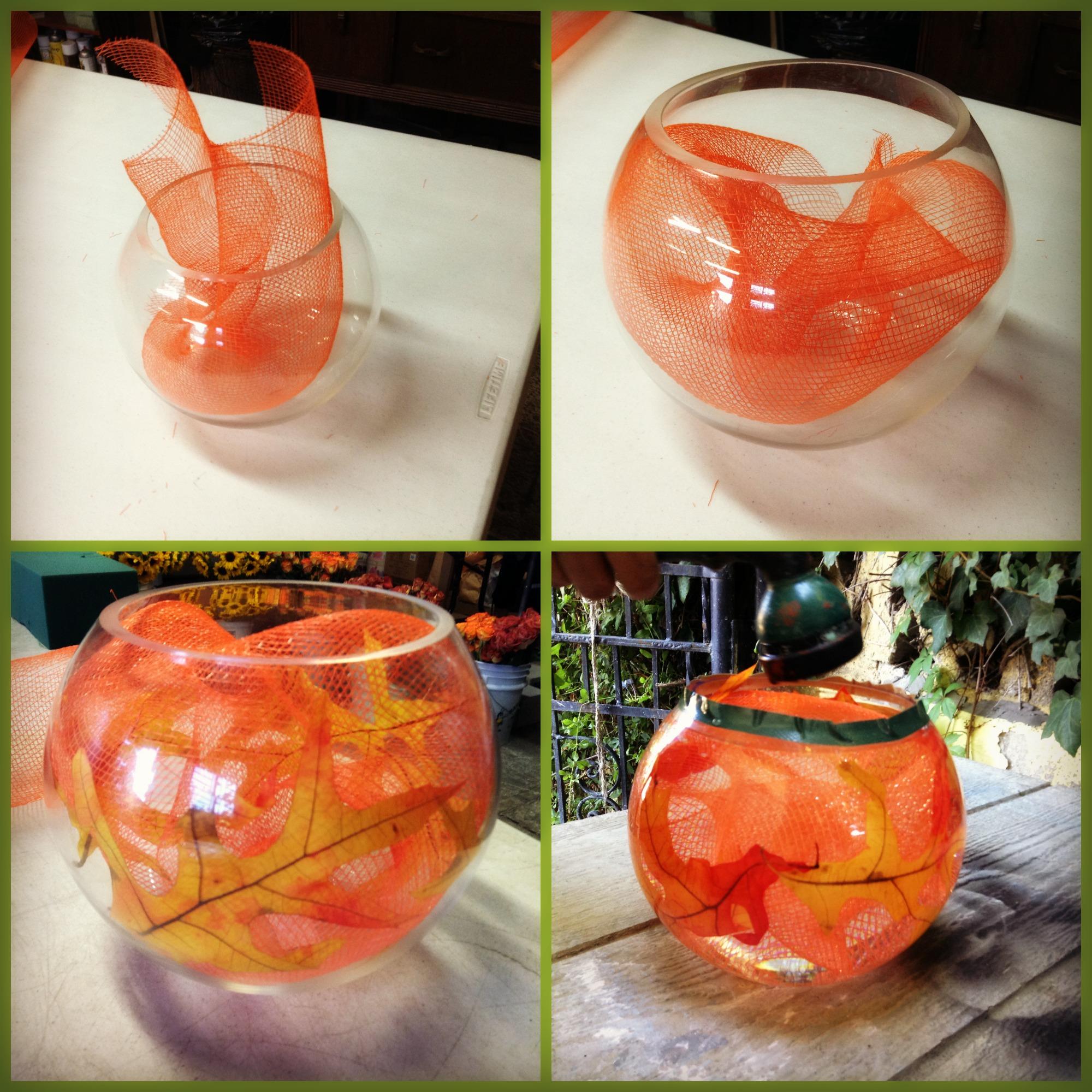 Como hacer un arreglo de flores de oto o en pecera redonda for Como decorar un cristal de mesa