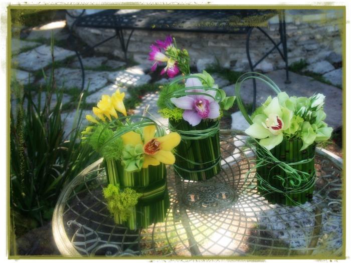 Arreglo floral con cymbidiums
