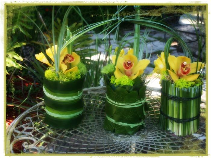Conjunto floral con cymbidiums