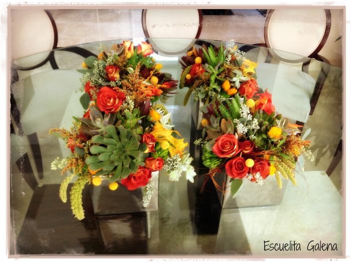 centro de mesa con suculentas para otoño
