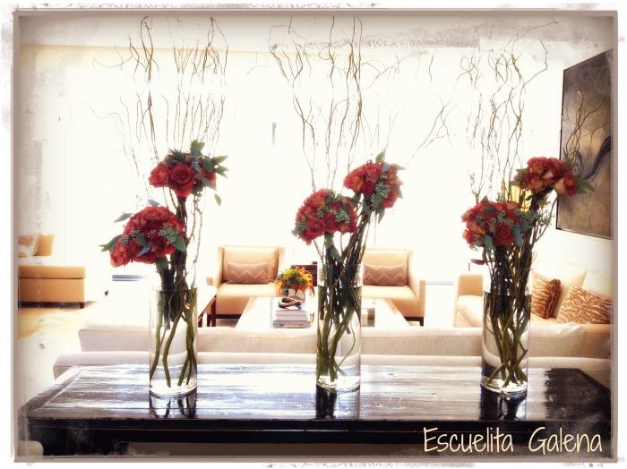 Cilindros con rosas y willows