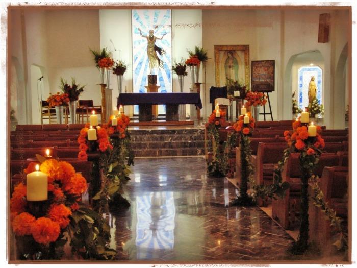 Decoración Iglesia en Dia de Muertos
