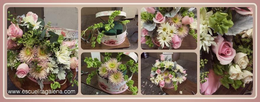 07493f78a52a3 Caja de sombrero con flores VINTAGE - Ana Galena