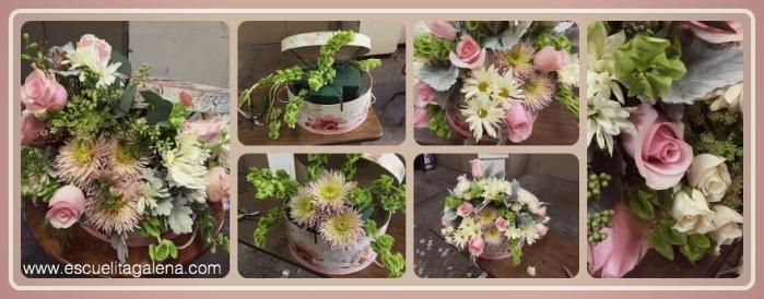 arreglo de flores vintage en caja de sombrero