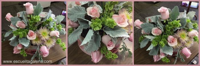 dusty miller en arreglo de flores vintage