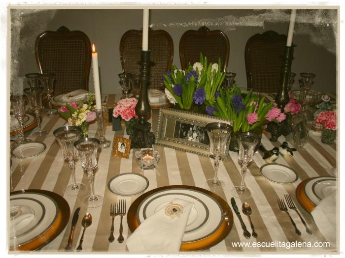 jacintos decorando la mesa