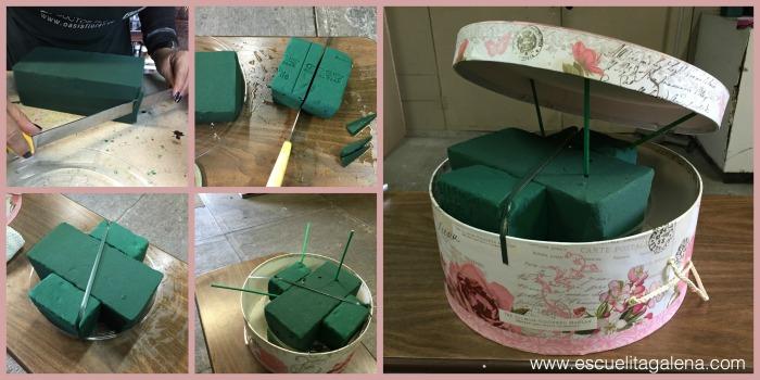 poner oasis arreglo caja de sombrero vintage