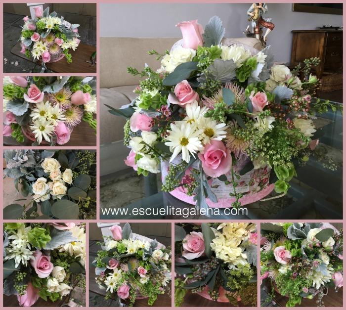 relleno y complemento arreglo de flores vintage en caja de sombrero