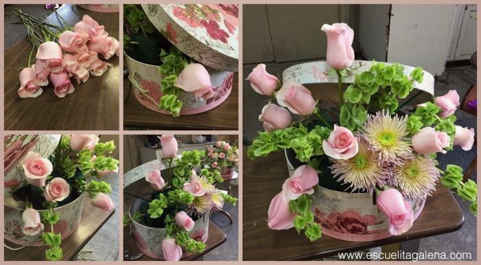 rosas en arreglo de flores vintage