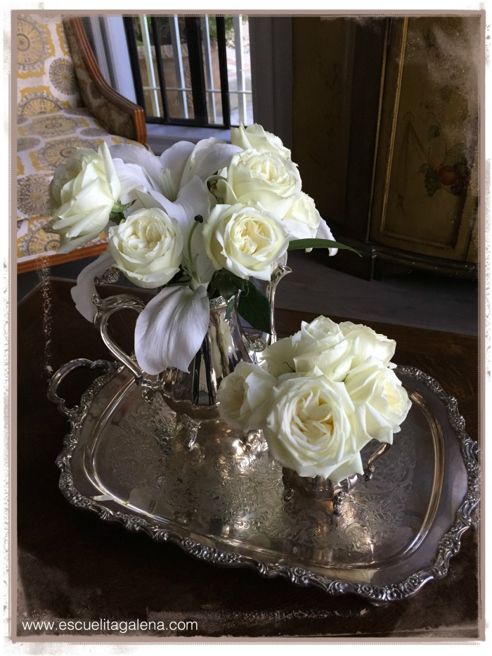 white roses on silver
