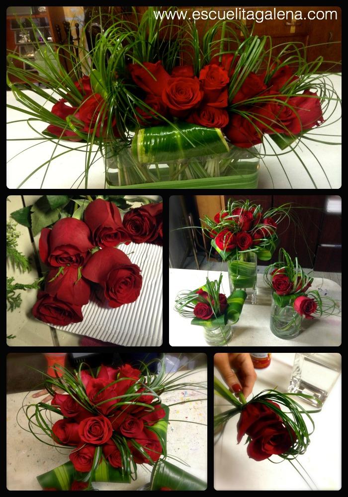 Adornos modernos con rosas rojas
