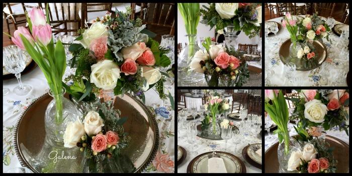 Charola de plata con candelabro, licorera y veladoras de cristal con flores