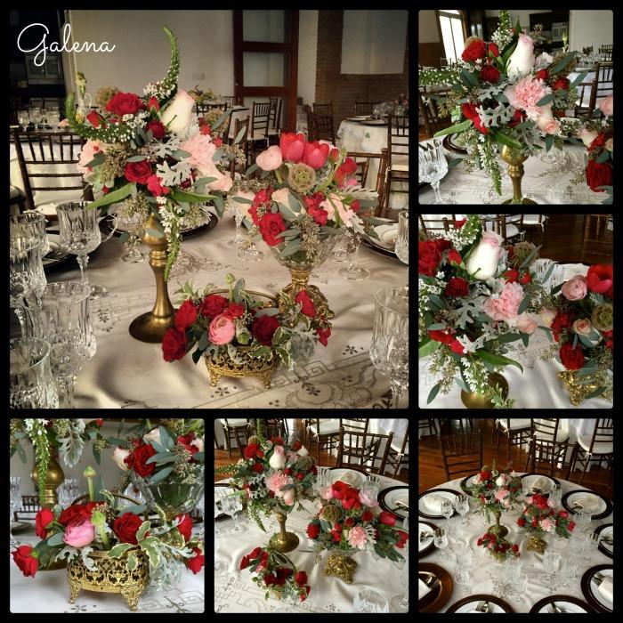 Latón, cristal con flores rojas que se complementan con rosita y acompañan con gris.