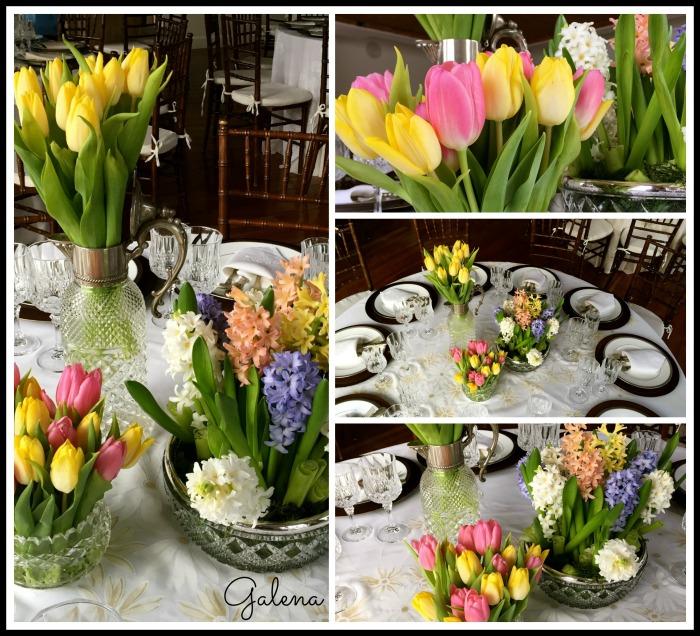 Cristal con plata decorado con tulipanes y jacintos.