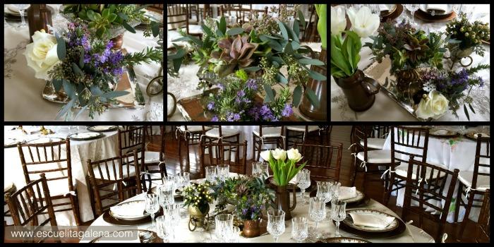Cobre, plata, suculentas, romero y tulipanes