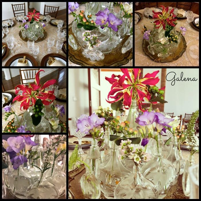 """Colección de perfumeros """"L'air du Temp"""" de mi mamá decorados con gloriosas, freesias, veronicas, wax y encage de reina."""