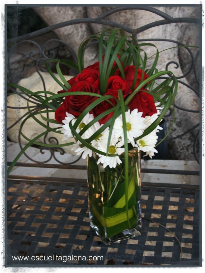 Rosas rojas y margaritas.