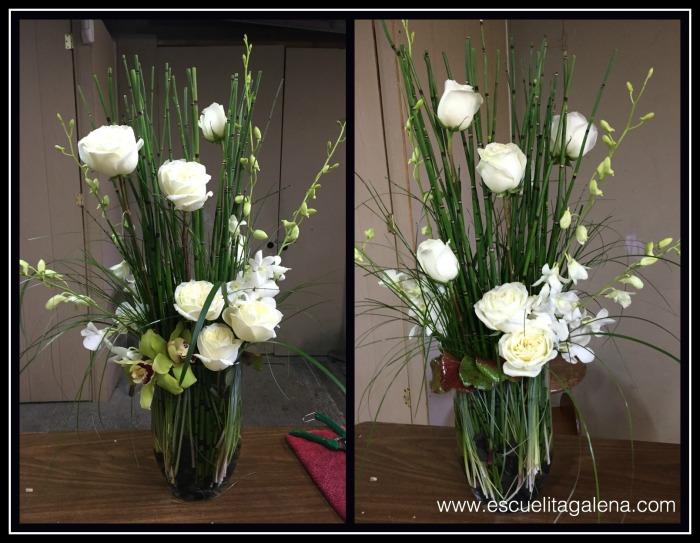 arreglo de flores con rosas, cymbidiums y dendromios