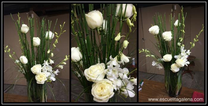 arreglo de flores con rosas y dendromios