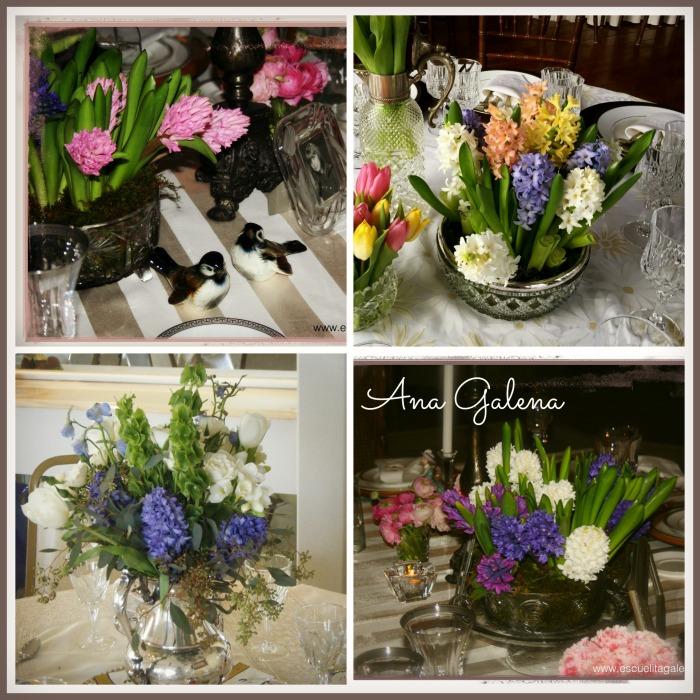 Arreglos de flores con jacintos