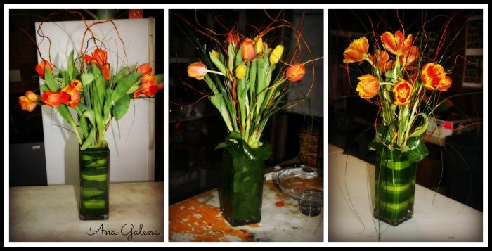 tulips arreglo con tulipanes