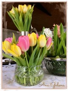 tulips centro de mesa con tulipanes
