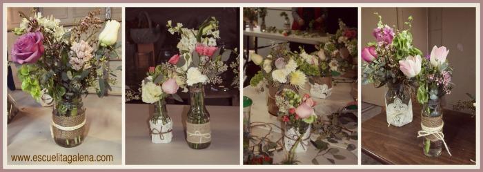 frascos con flores estilo vintage