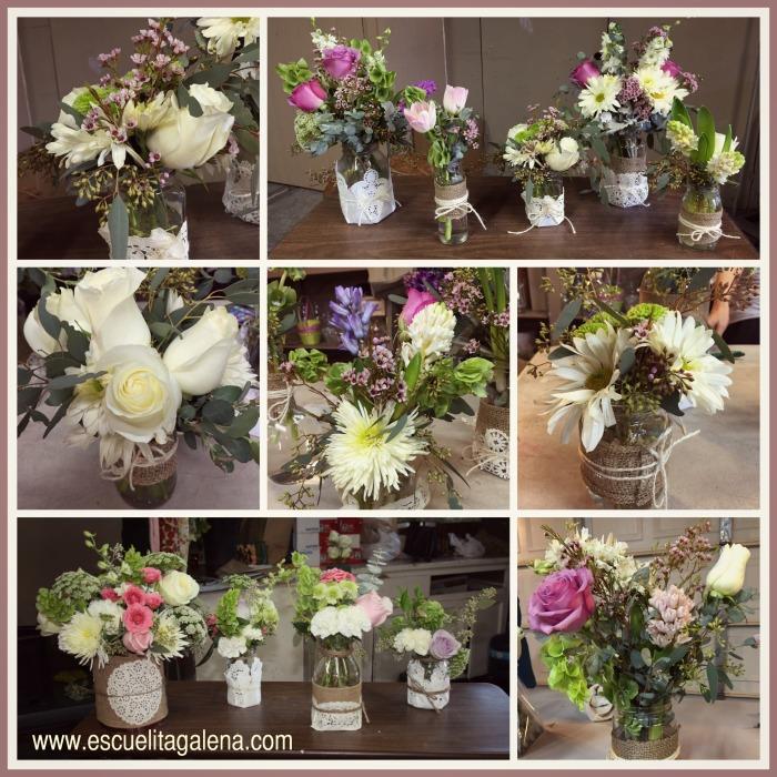 frascos con yute y flores frescas