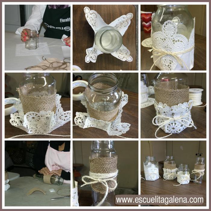 para forrar frascos con yute