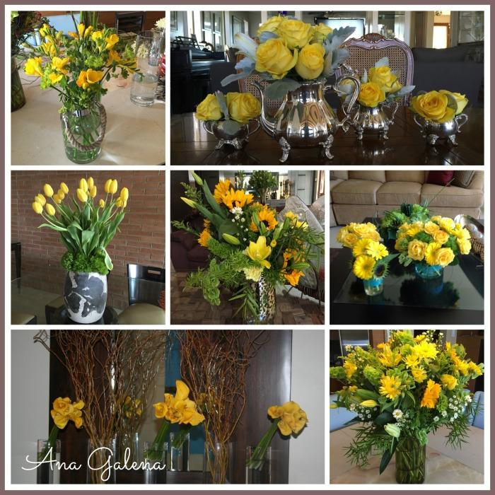 decorando con flores amarillas