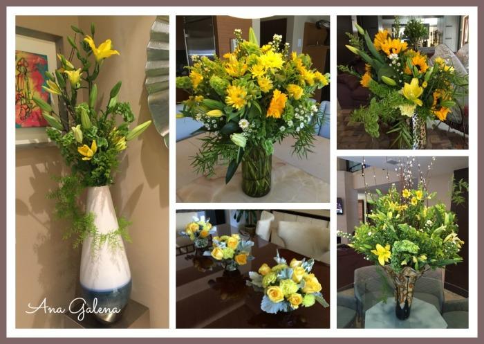 decorando con flores color amarillo