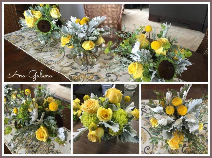 decorando la mesa con flores amarillas