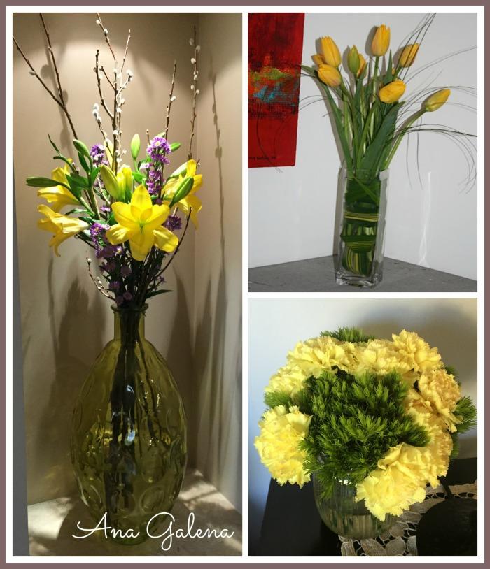 flores amarillas en el estudio y en la recamara