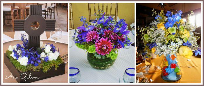centros de mesa azul con flores