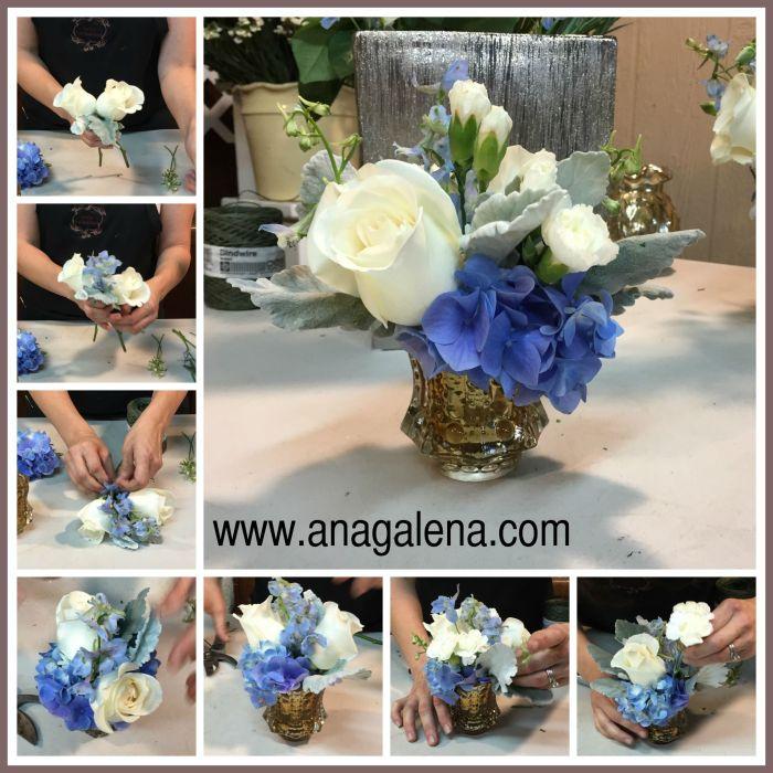 como hacer arreglo de flores en vidrio de mercurios azul con blanco para niño