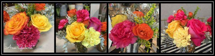 rosas claveles y mini rosas en centro de mesa