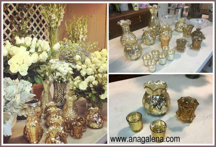 vidrio de mercurio y flores centro de mesa decoracion