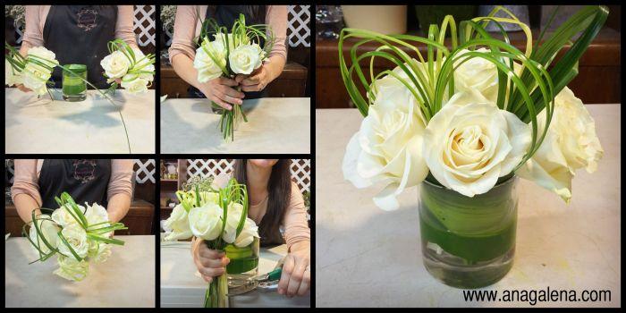 armando un bouquet de rosas