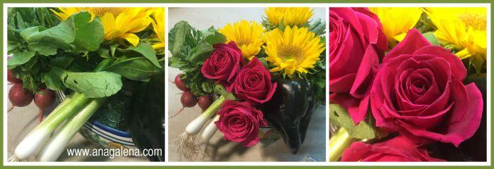 centro de mesa mexicano con rosas